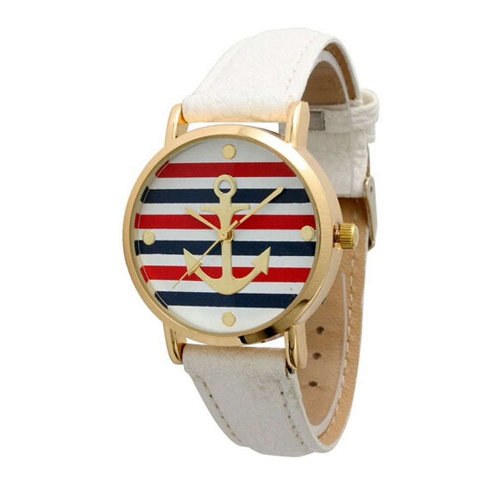 Fashion Women's Multi Color Striped Anchor Leather Watch White