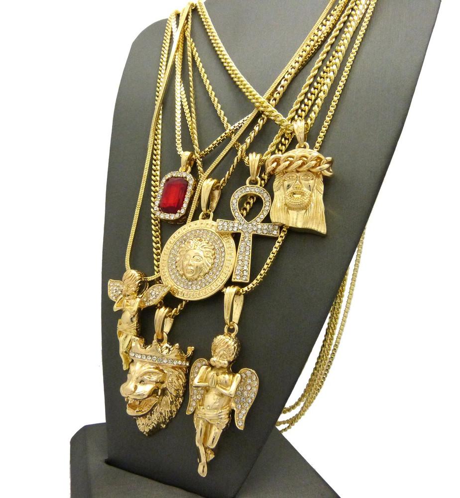 14k Gold GP God Of Prosperity Ultra Baller Pendant Chain Set