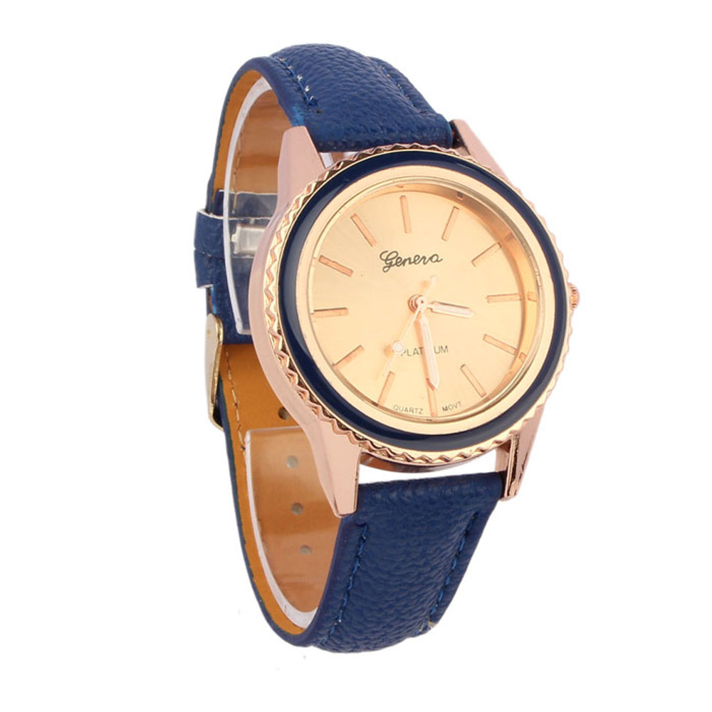 Fashion Vogue Women's Blue Wave Leather Analog Wrist Watch