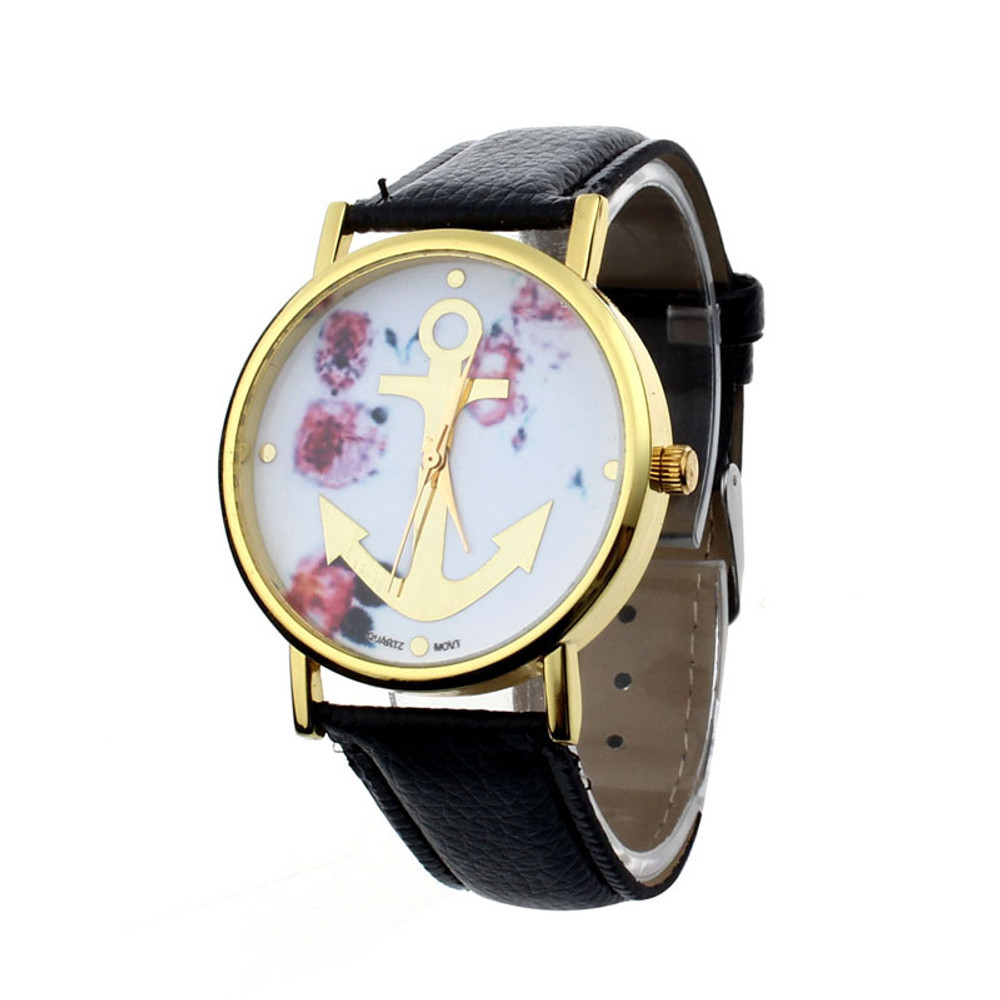 Ladies Fashion Leather Floral Printed Anchor Dress Wrist Watch