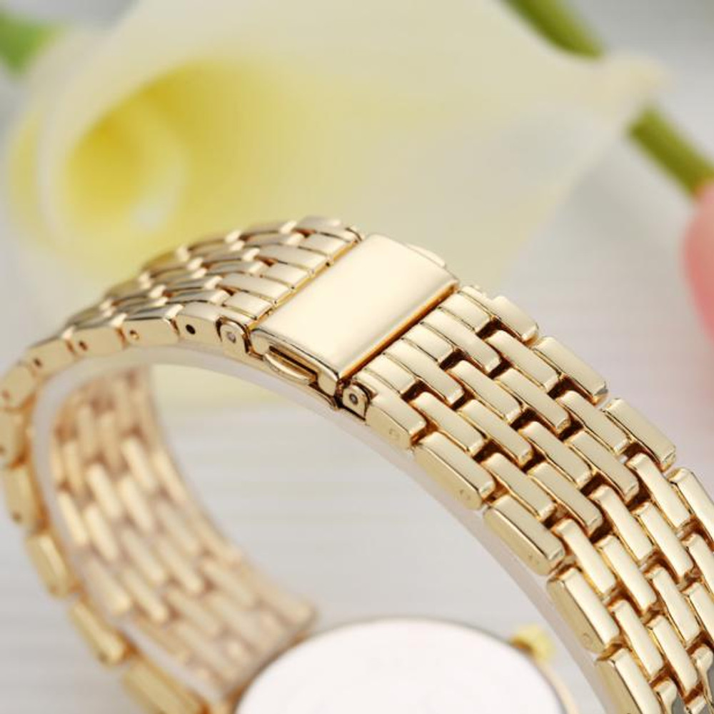 Ladies Simulated Diamond Double Row Watch 14k Gold