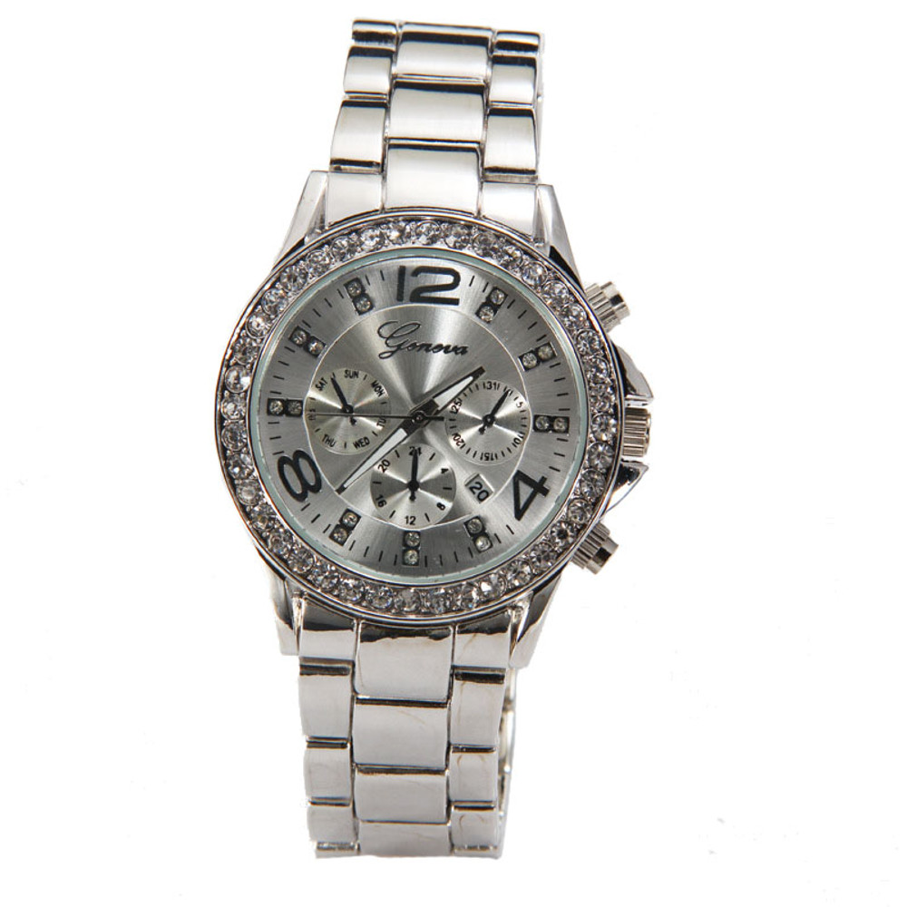 Ladies Simulated Diamond Bezel Luxury Crystal Wristwatch