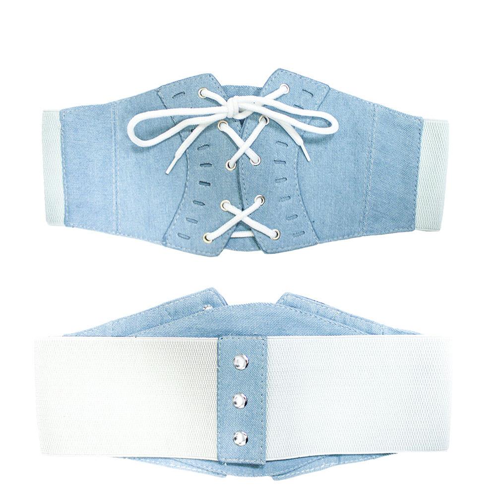 Ladies Elastic Denim Stitched Lace Up Corset Over Shirt Belt Blue