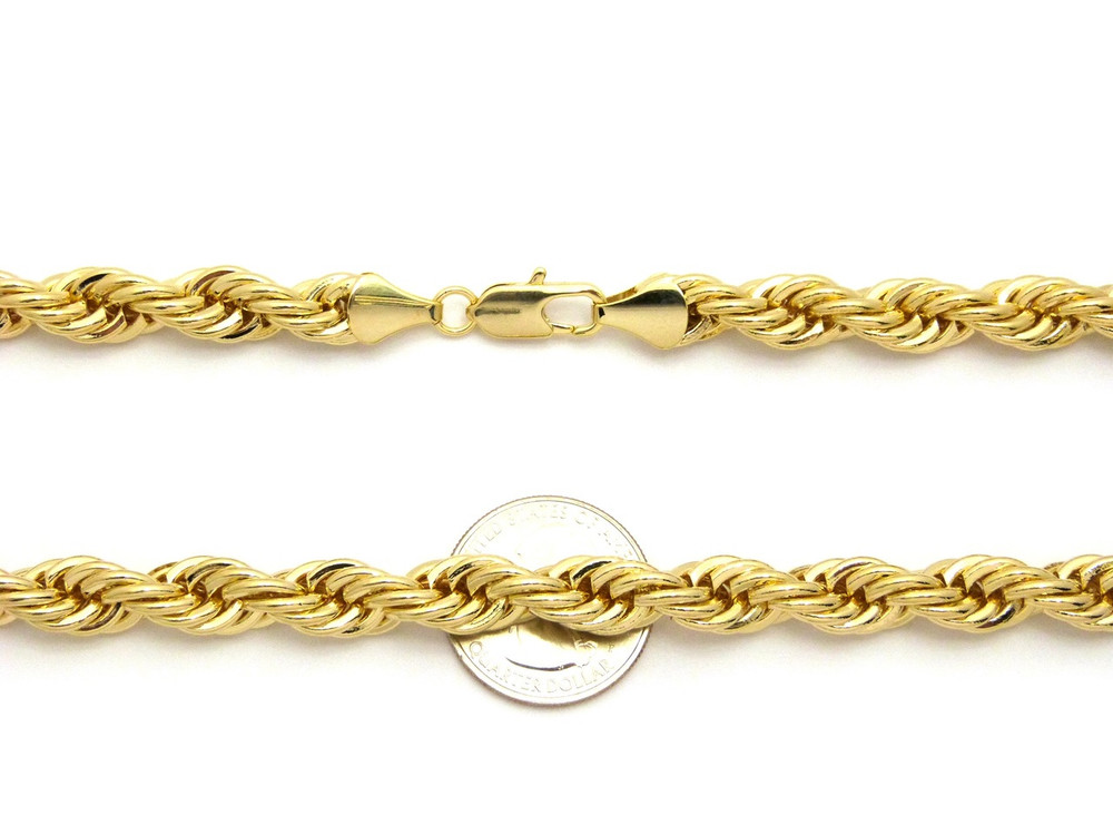 14k Gold 9mm Hip Hop Rope Link Chain Necklace