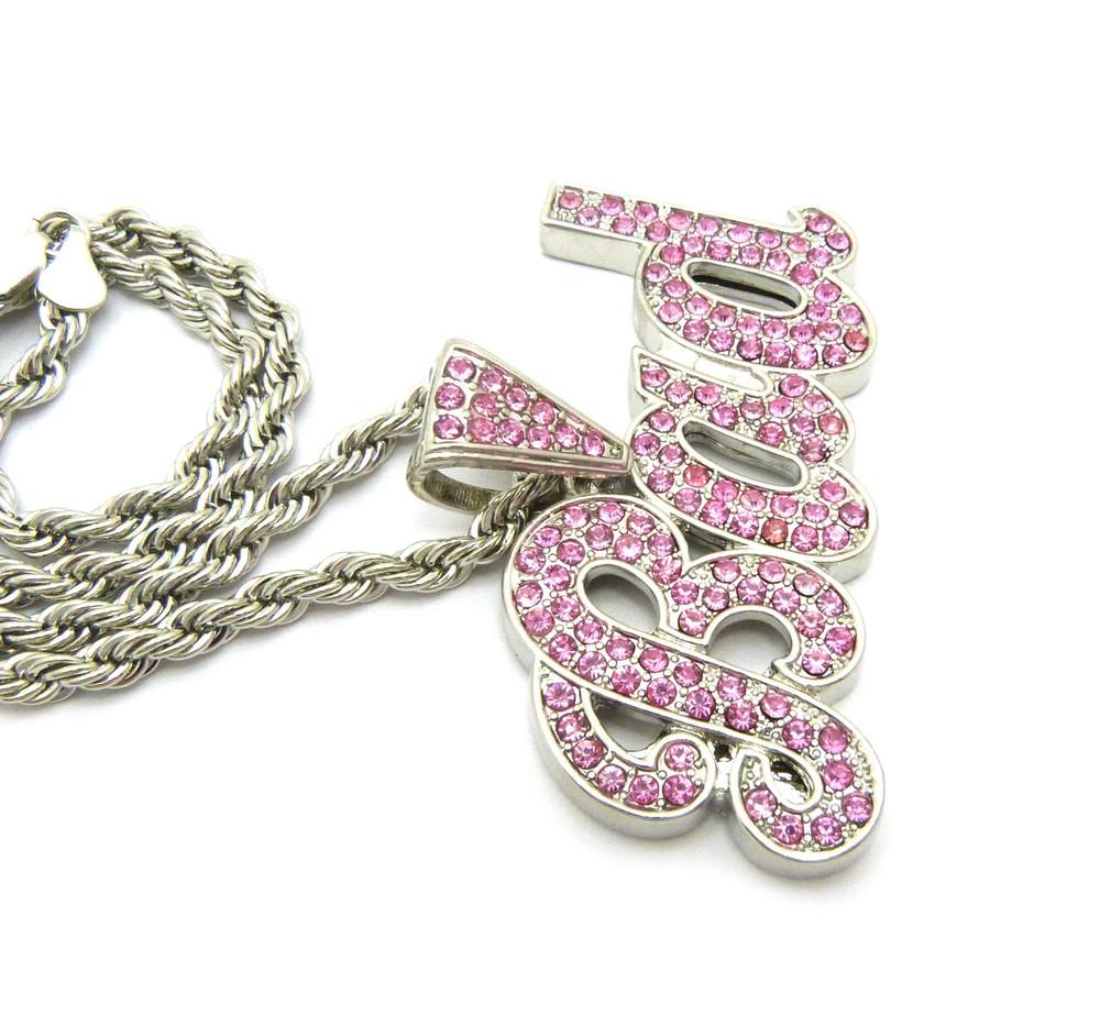 .925 Rhodium Pink Ice BAD Simulated Diamond Pendant