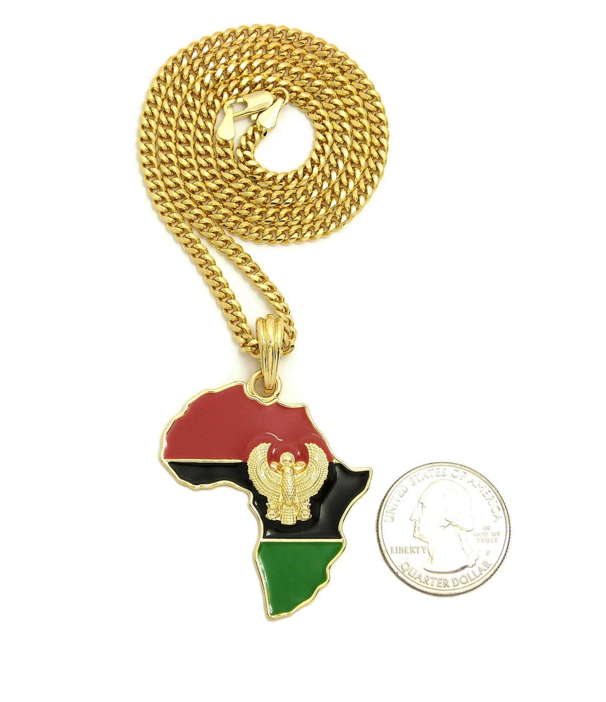 Mother Africa 14k Gold GP Enameled Falcon of Tutankhamun Pendant
