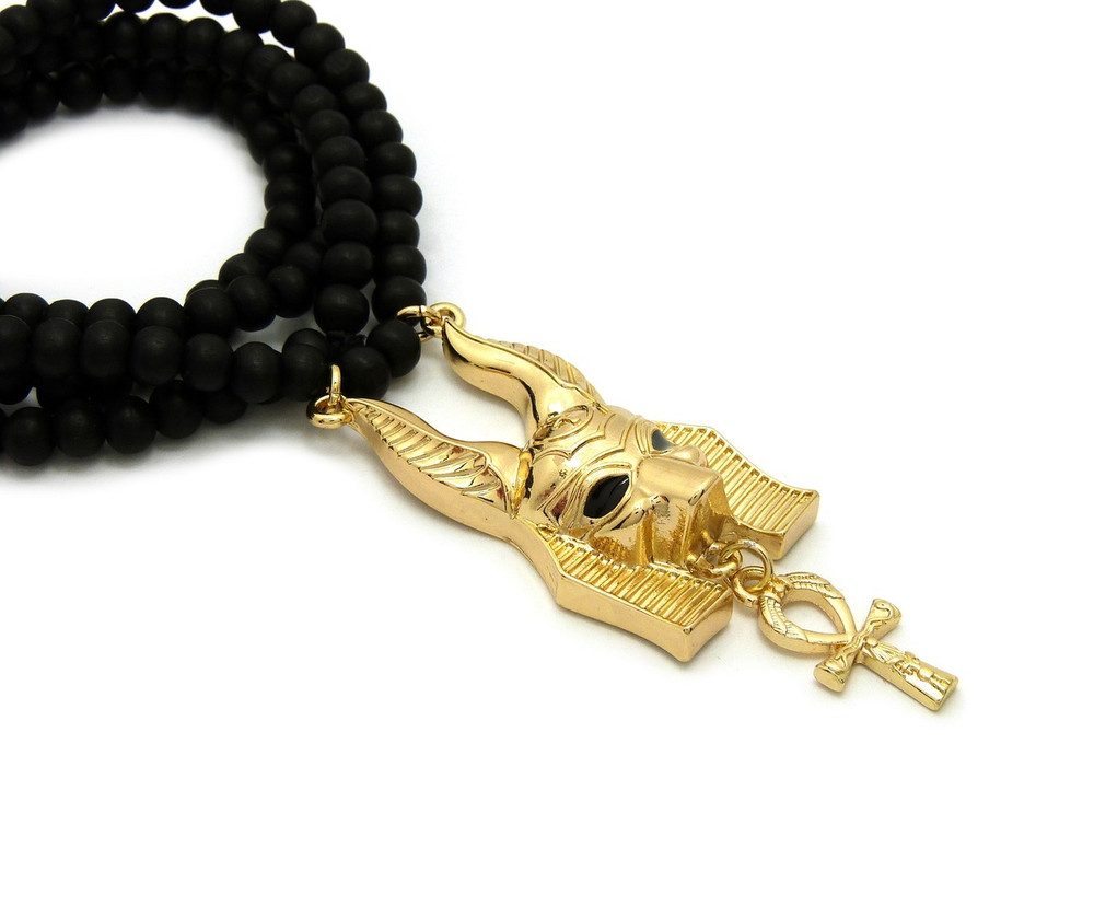 Gold God Anubis Ankh Cross Pendant Beaded Chain Pendant