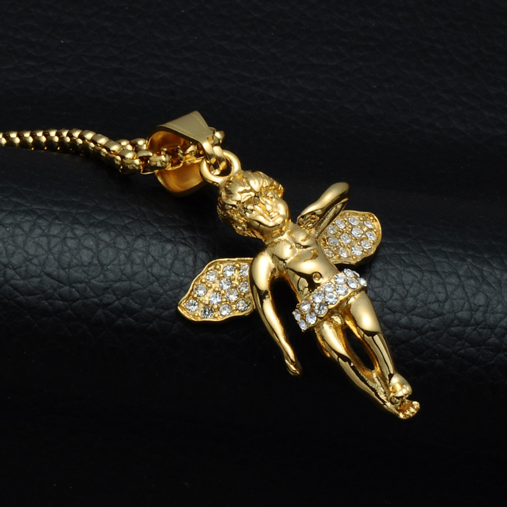 14k Gold Stainless Steel Simulated Diamond Guardian Angel Pendant Chain