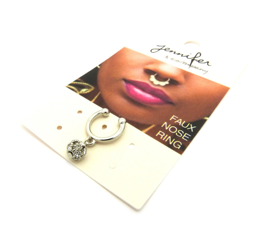 Dangling Horseshoe Studded Nose Ring