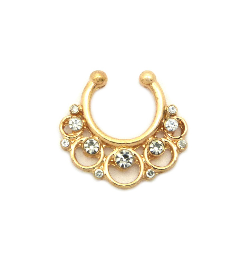 Circle Stone Diamond Cz Horseshoe Studded Nose Ring