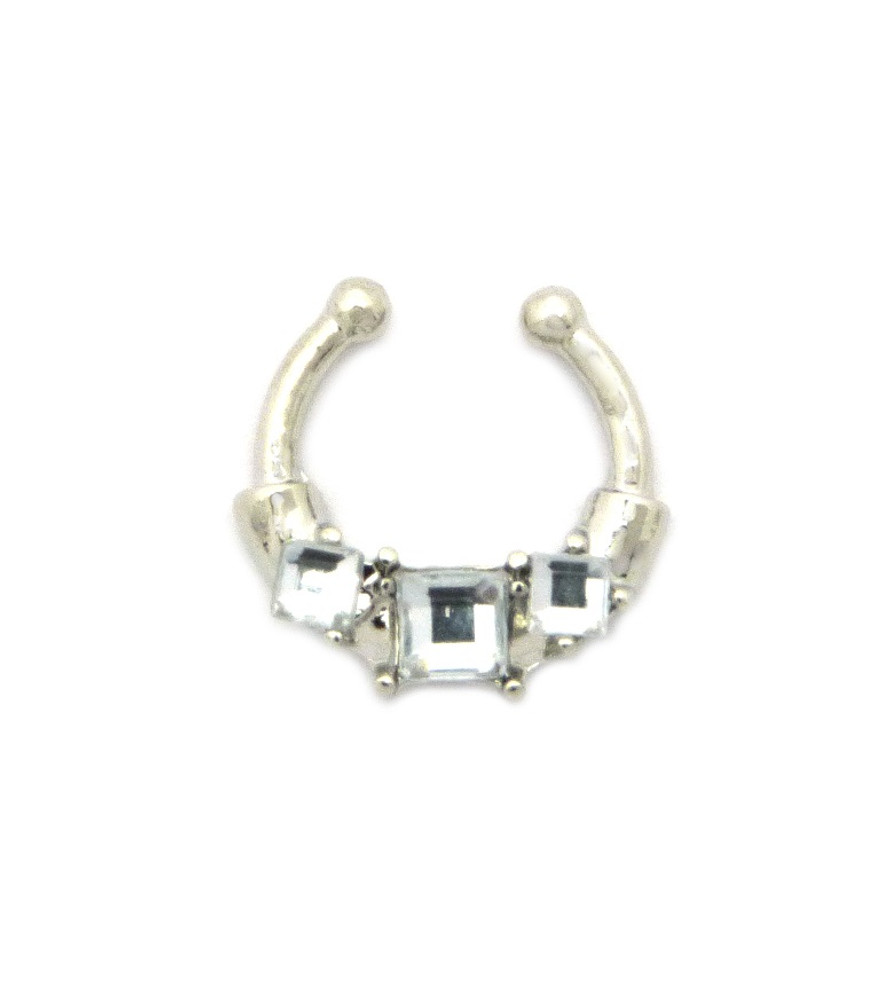 Princess Stone Diamond Cz Horseshoe Studded Nose Ring