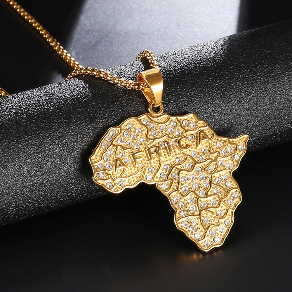 Mens 14k Gold Stainless Steel Africa Continent Medallion Chain Pendant