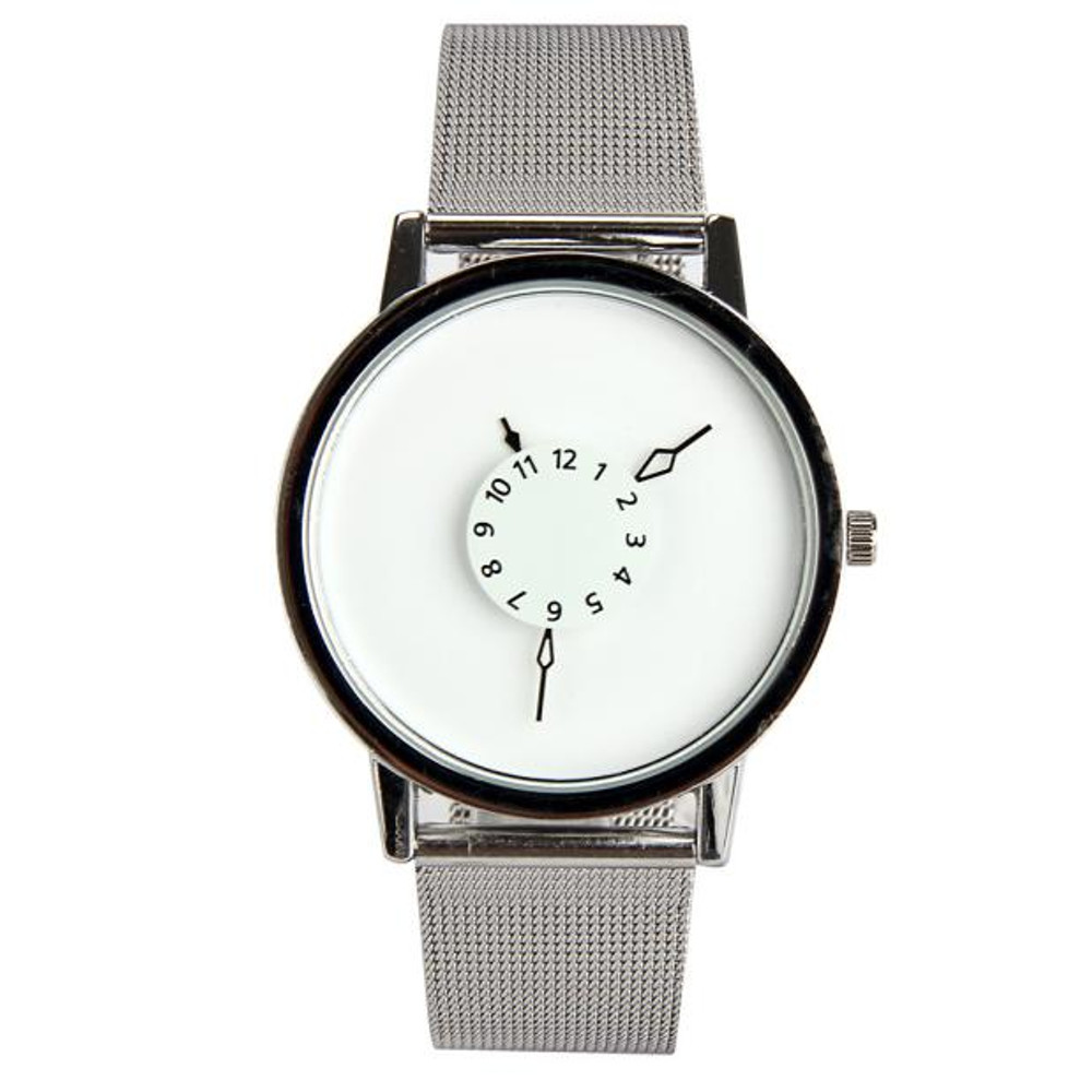 Mens Clean Classic Stainless Steel Arrow Face Hip Hop Watch