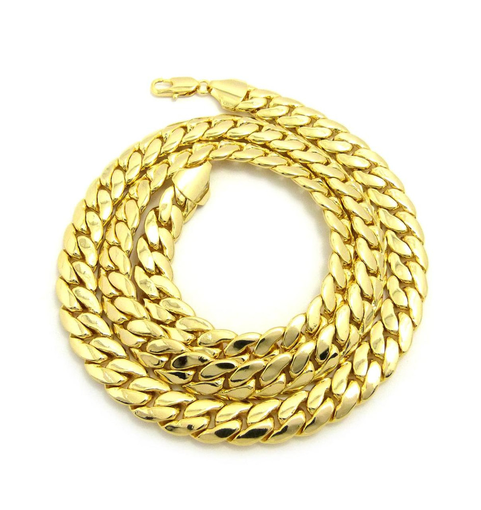 14k Gold 11mm Miami Cuban Link Hip Hop Chain Necklace