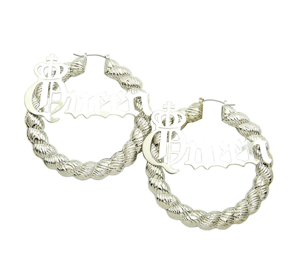 Silver Queen Big Hoop Pinhatch Rope Style Door Knocker Earrings