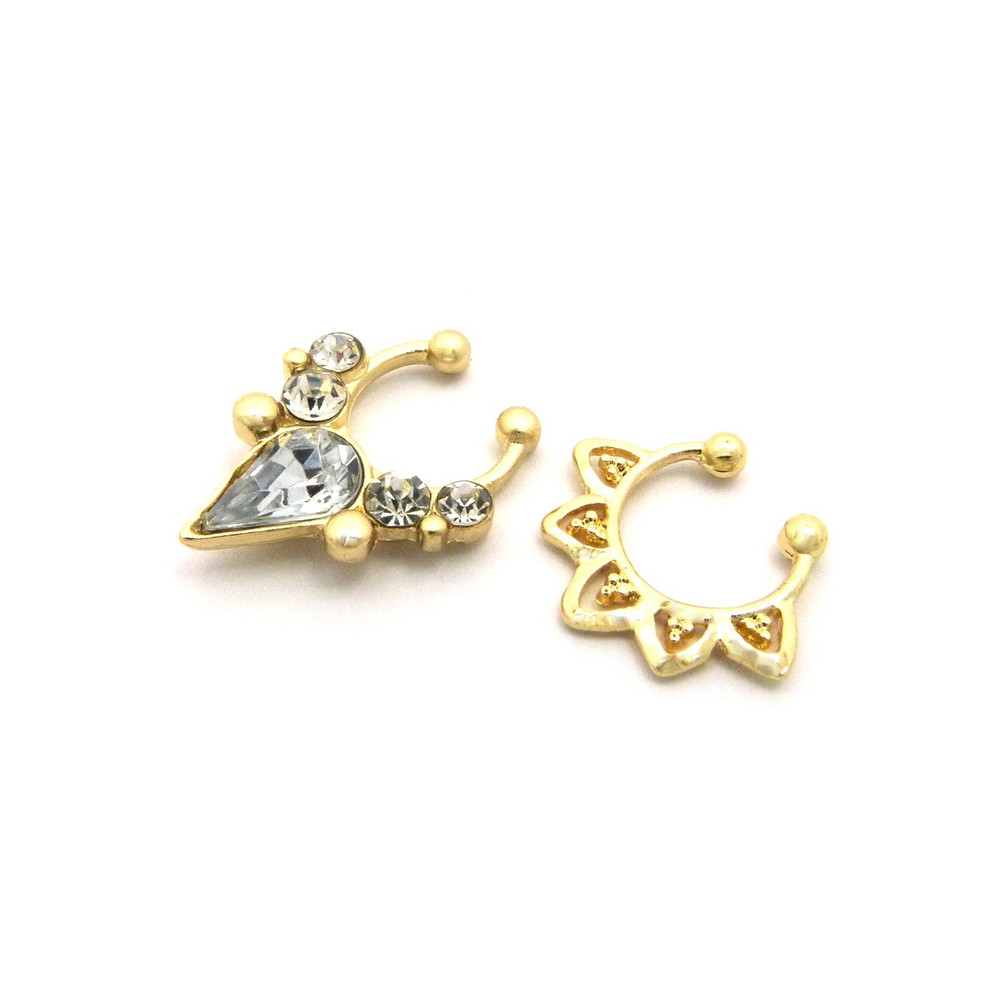 Tear Drop Iced Out Double Nose Ring 1