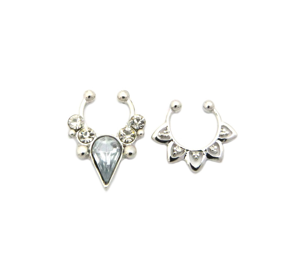 Tear Drop Iced Out Double Nose Ring 3