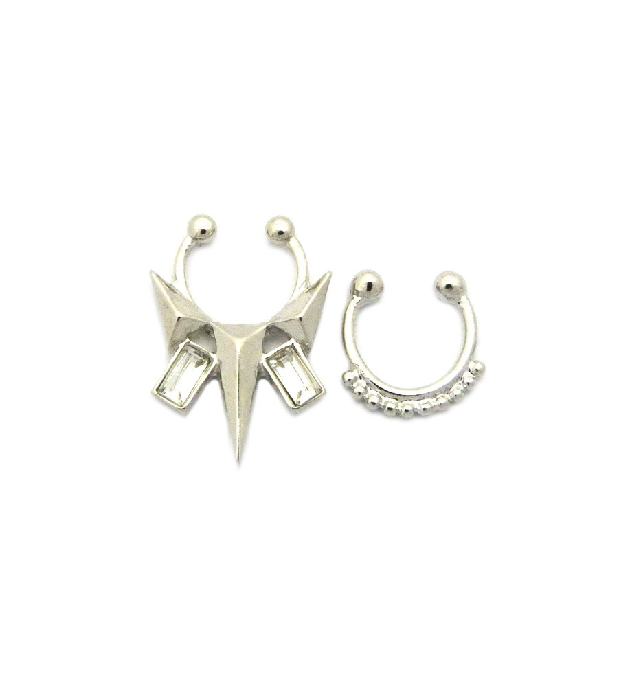 Arrow Baguette Iced Out Double Nose Ring 2