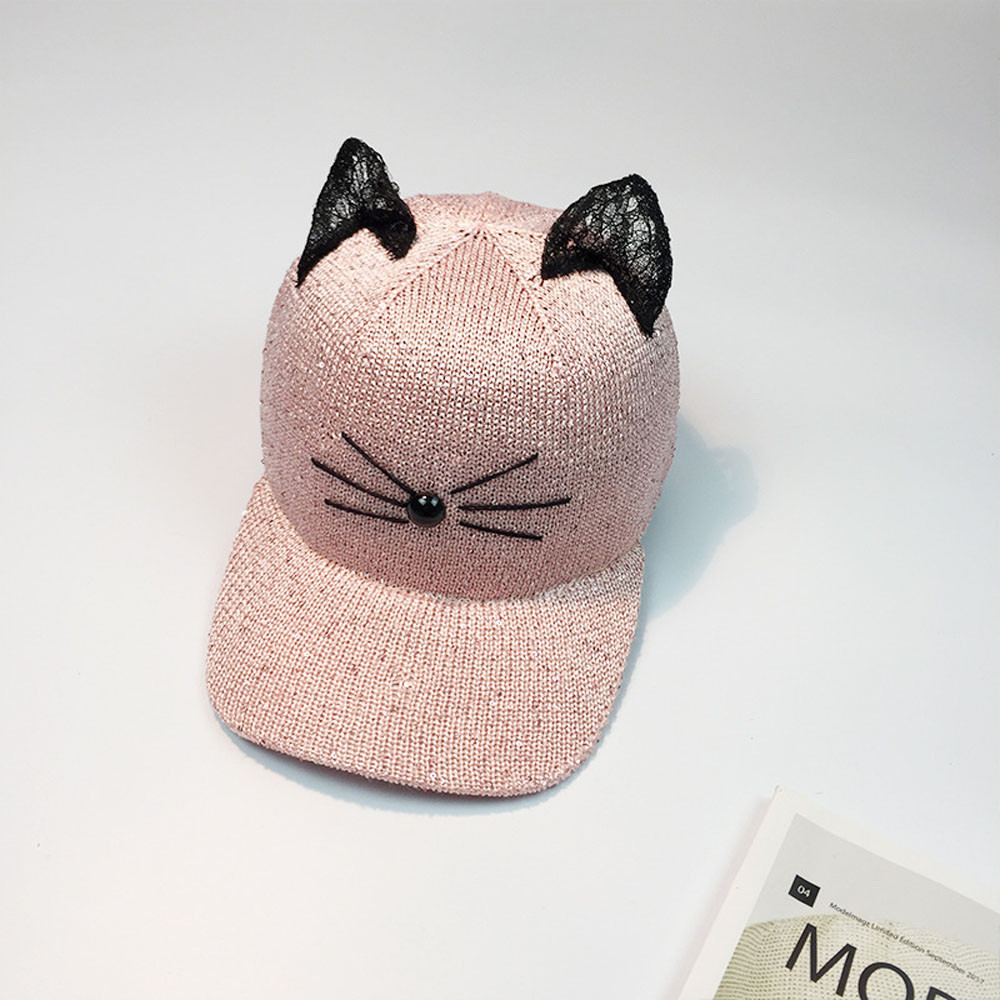 Pussy Cat Ears Pattern Sequin Womens Snapback Sun Hat