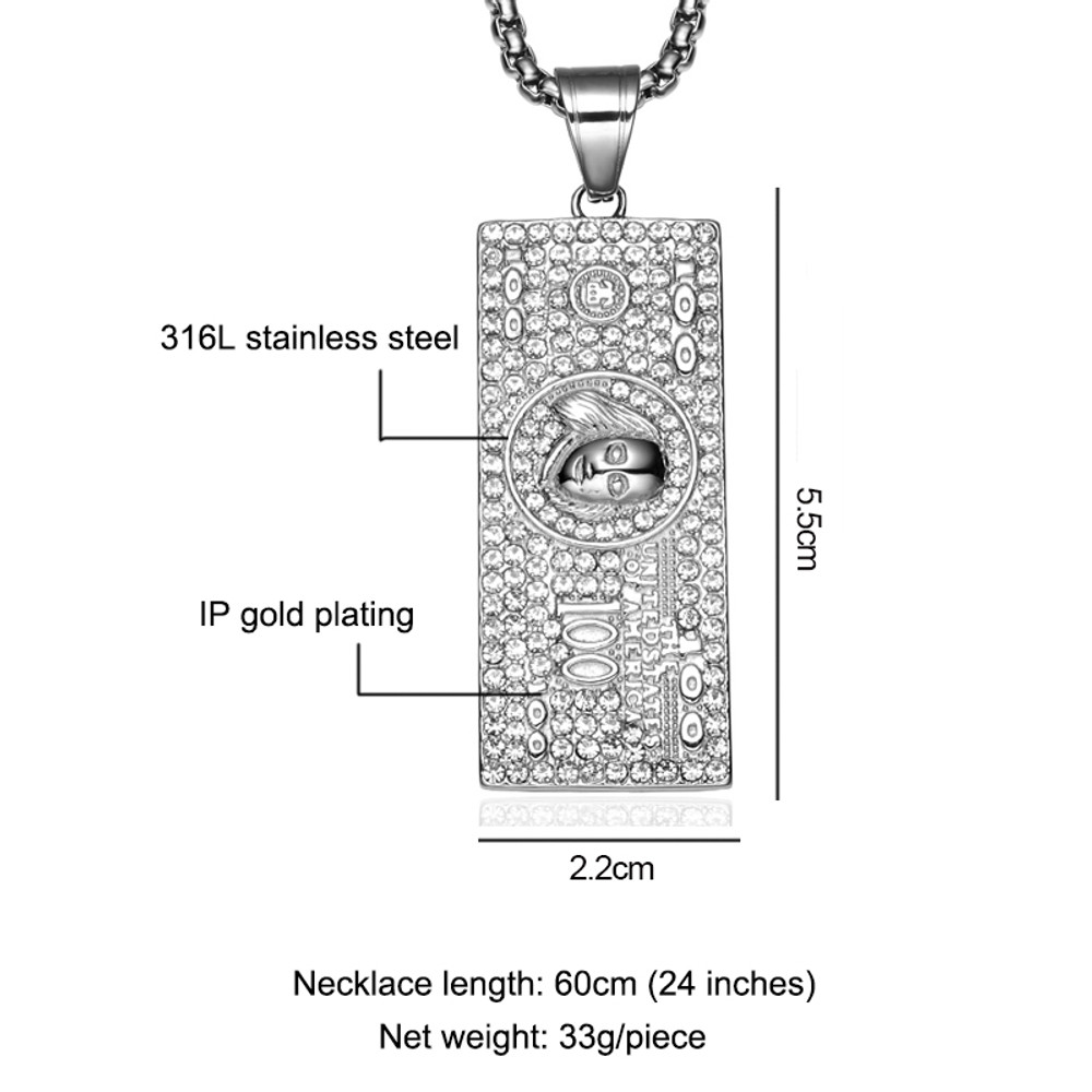 Iced Out Stainless Steel  Laughing To The Bank 100 Dollars Money Chain Pendant