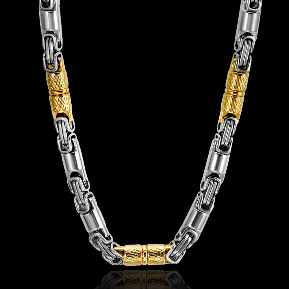 Men's Titanium Stainless Steel Hip Hop Bling 55CM 6MM Heavy Link Byzantine Chain Necklace