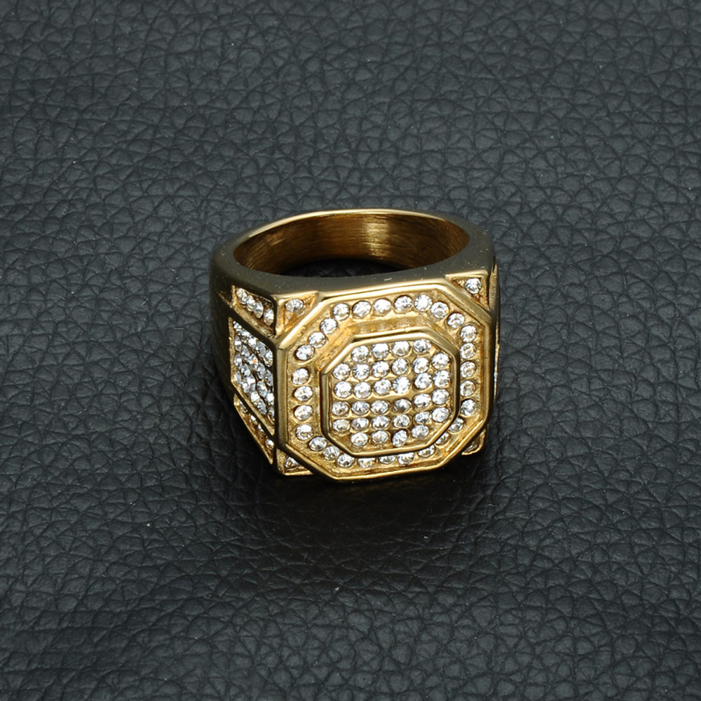 Men's Micro Pave Simulated Diamond Iced Out Bling Hexagonal Gold Titanium Stainless Steel Ring