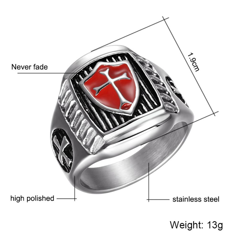 Titanium Stainless Steel Shield Knight Templar Crusader Cross Biker Boy Ring