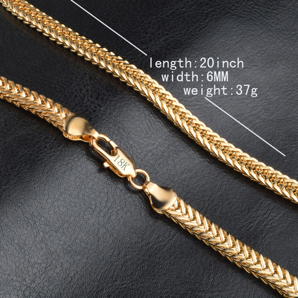 Mens Hip Hop 20 Inch 6MM Snake Bone Gold Stainless Steel Double Curb Cuban Link Chain