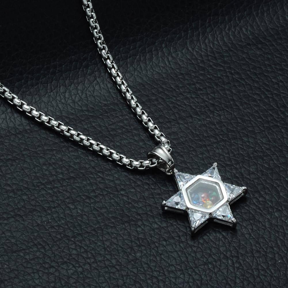 Hip Hop Simulated Diamond 14k Gold Stainless Steel Jewish Magen Star of David Pendant