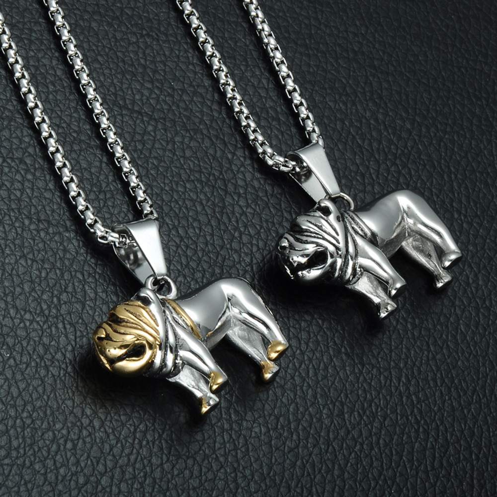 Two Tone High Polished Titanium Stainless Steel Little Bull Dog Chain Pendant