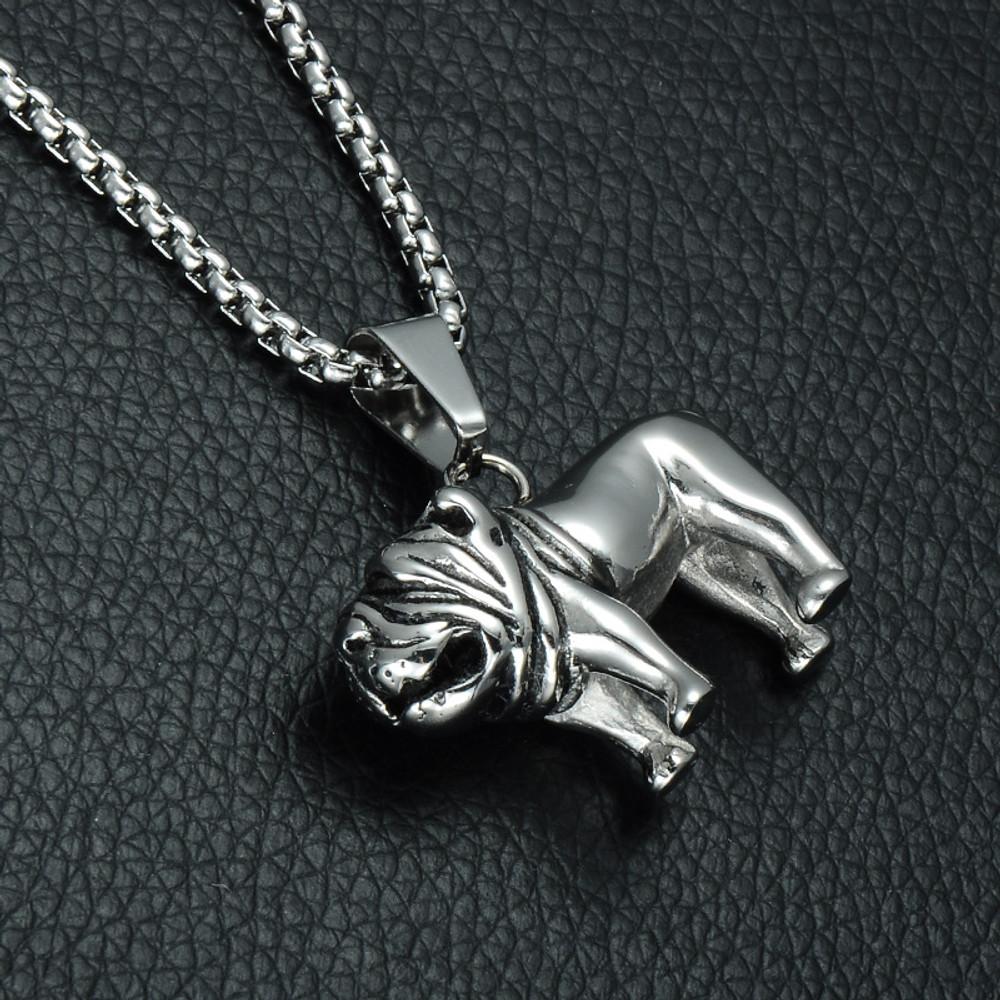 Two Tone High Polished Titanium Stainless Steel Bulldog Chain Pendant