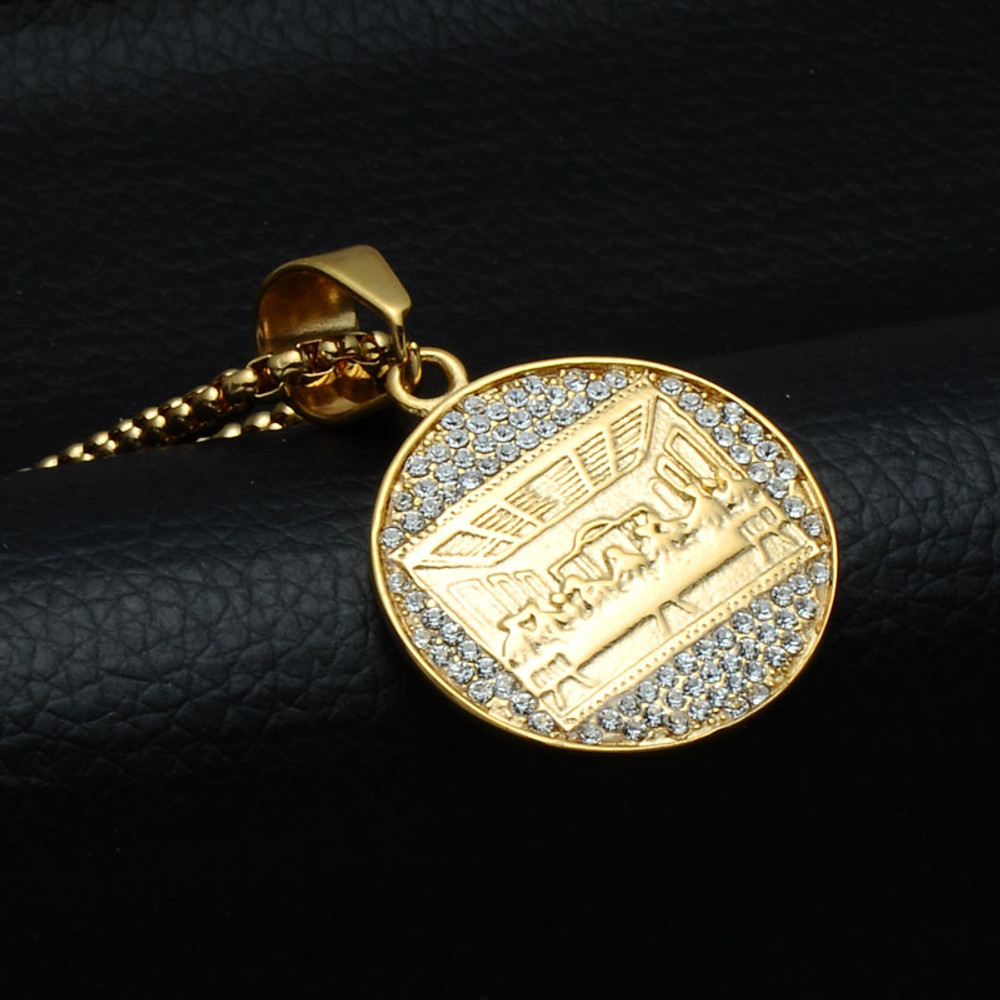 14k Gold The Last Supper Stainless Steel Hip Hop Bling Pendant Chain Necklace