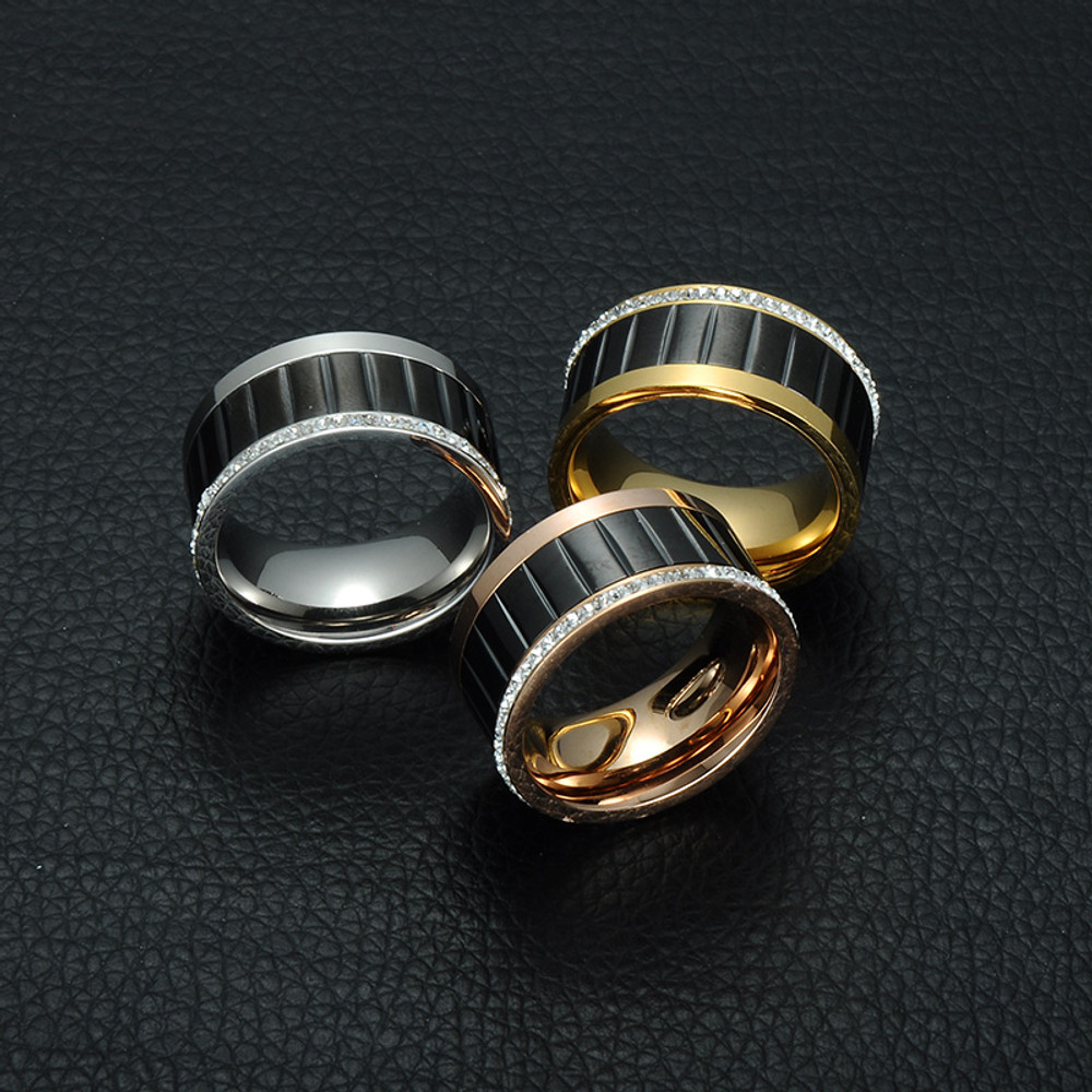 Rose 14k Gold Silver Titanium Stainless Steel Lab Diamond Ring