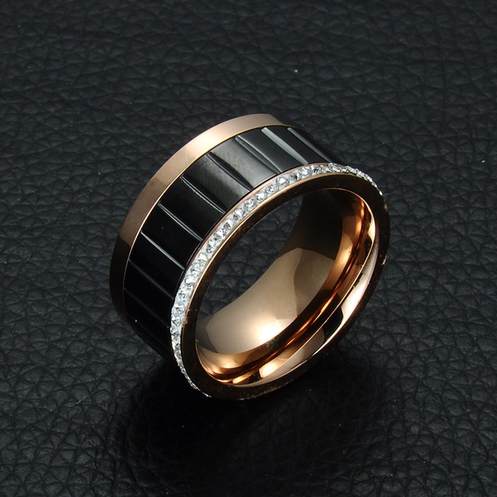 Mens Inlaid Rose 14k Gold Silver Titanium Stainless Steel Lab Diamond Ring