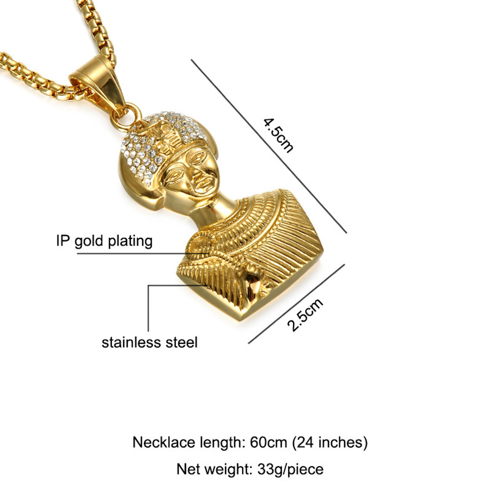 Queen Tiye 14k Gold Stainless Steel Ancient African Egyptian Pendant Chain Necklace