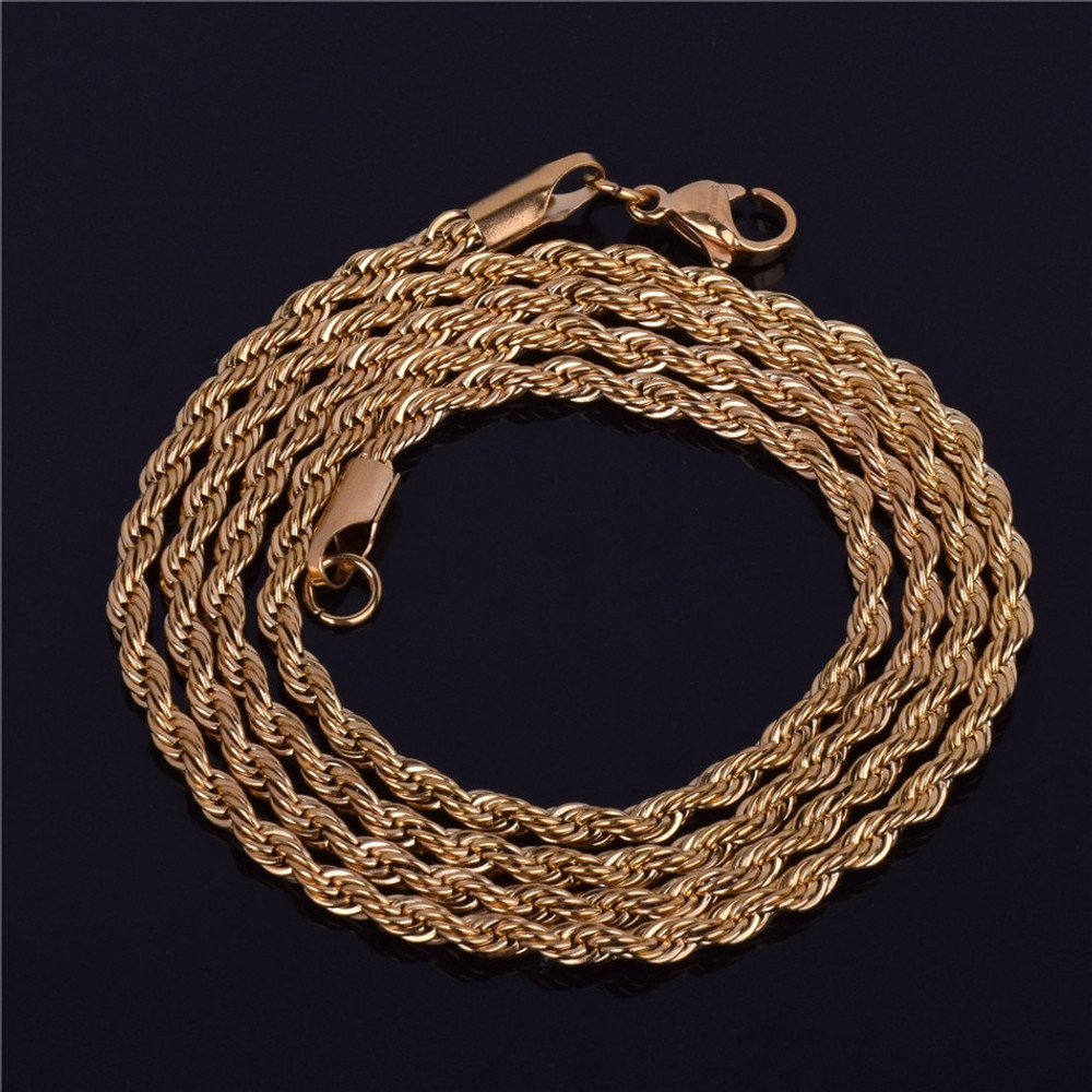 Men's 14k Gold Silver Stainless Steel 3mm Rope Link Chain Necklace