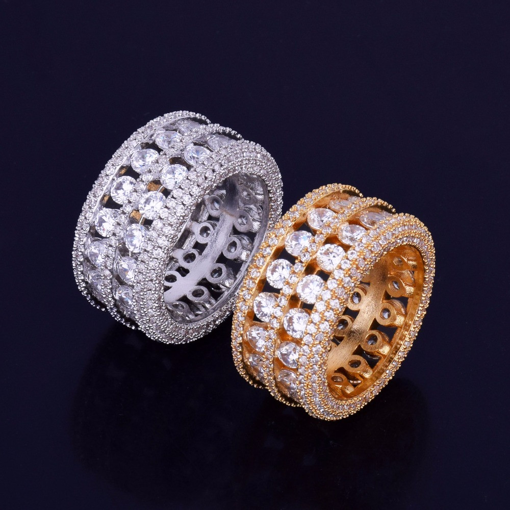 Ultra Baller 14k Gold Silver Hip Hop Bling AAA Stone Iced Out Ring