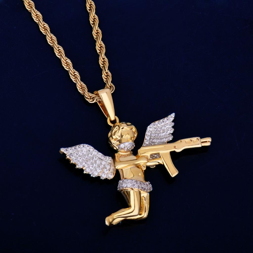 Mens 14k Gold Chopper Ak47 Guardian Angel Cherub Hip Hop Pendant Chain Necklace