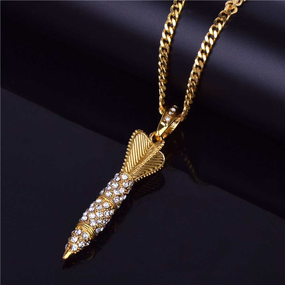 14k Gold Lab Diamond Iced Out Missile Pendant