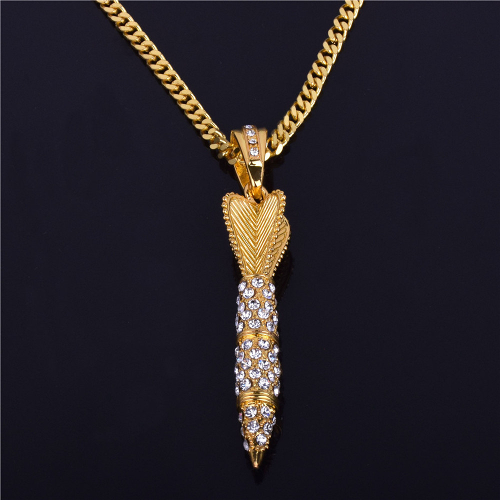 Men's Hip Hop 14k Gold Lab Diamond Iced Out Missile Pendant Chain Necklace