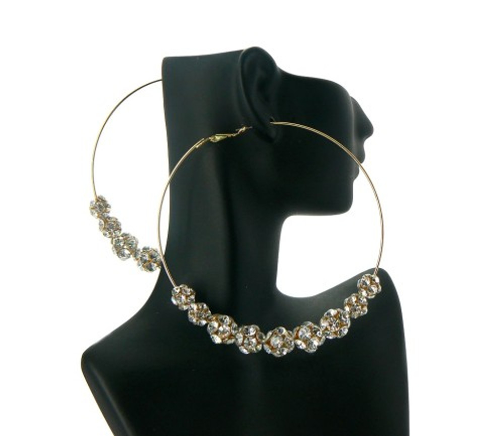 Basketball Wives Style Gold Iced Out Cz Earrings