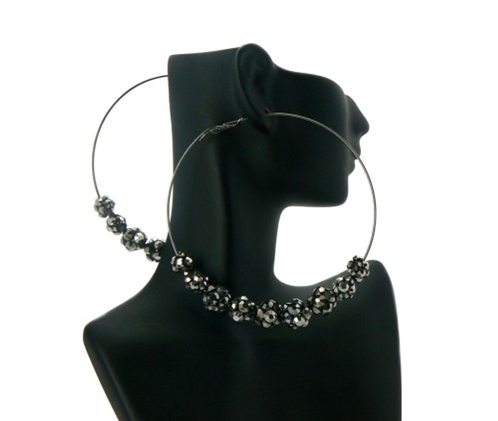 Black on Black Hematite CZ Basketball Wives Earrings
