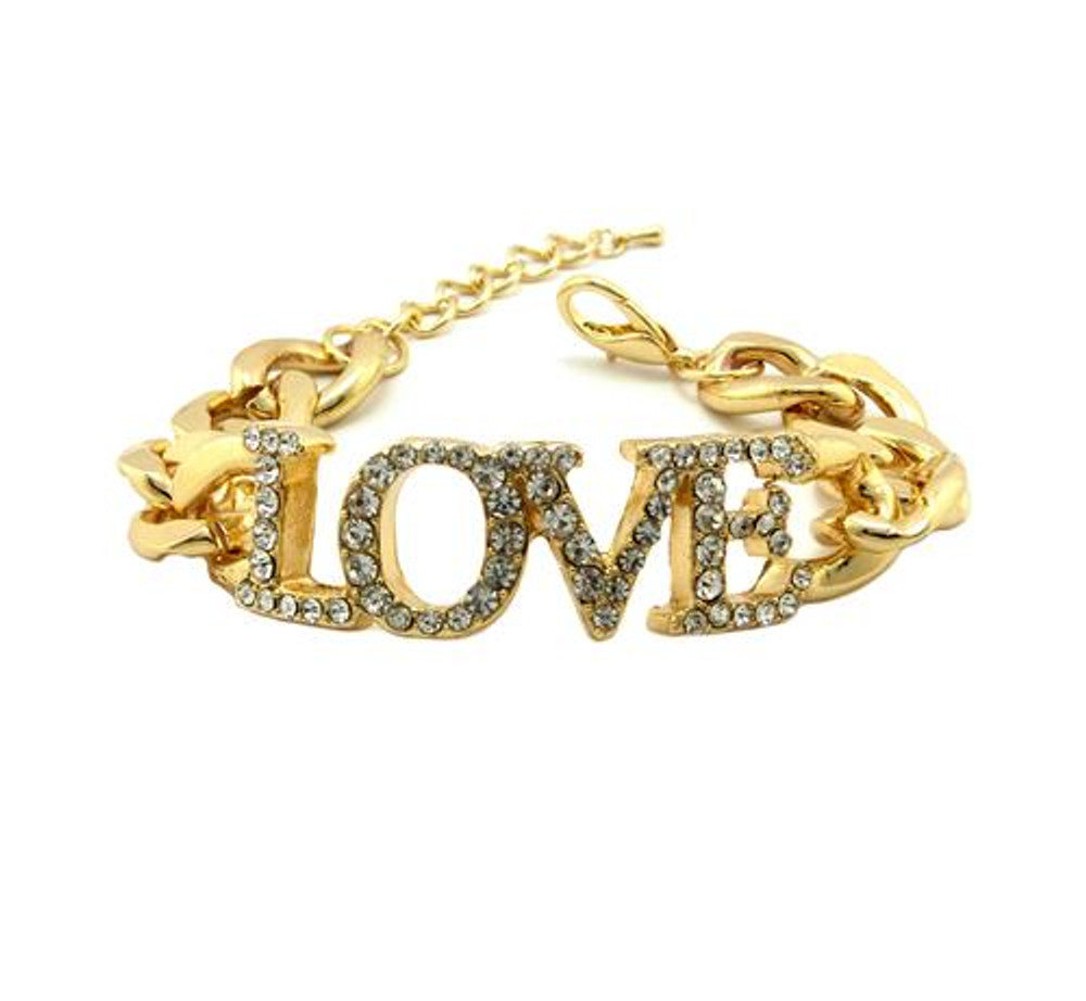 Ladies Cz Gold Love Bracelet