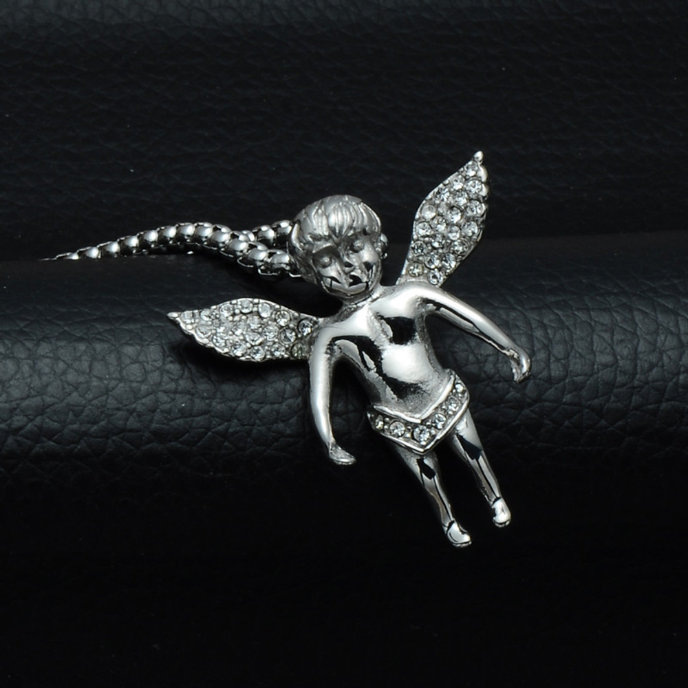 14k Gold Micro Small Lab Diamond Silver Stainless Steel Angel Cherub Pendant