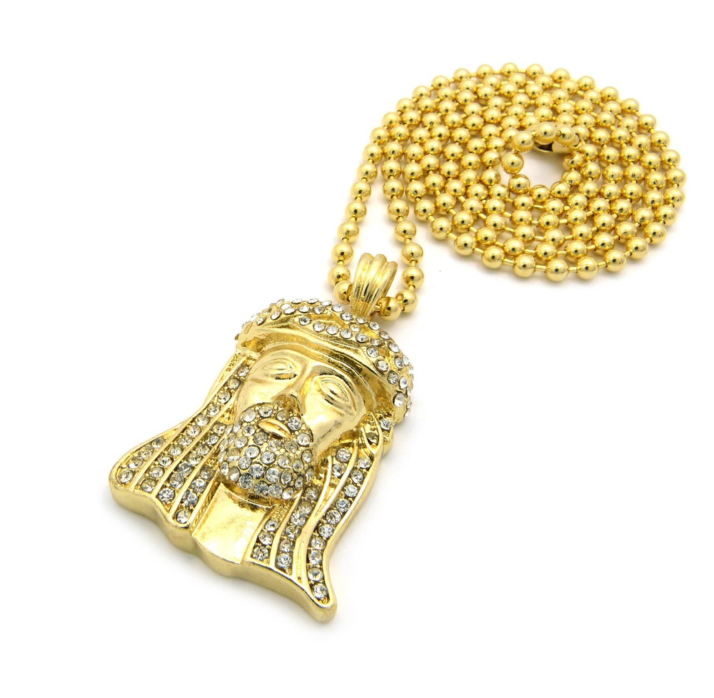 Small micro iced out crown jesus piece pendant ball chain gold aloadofball Choice Image