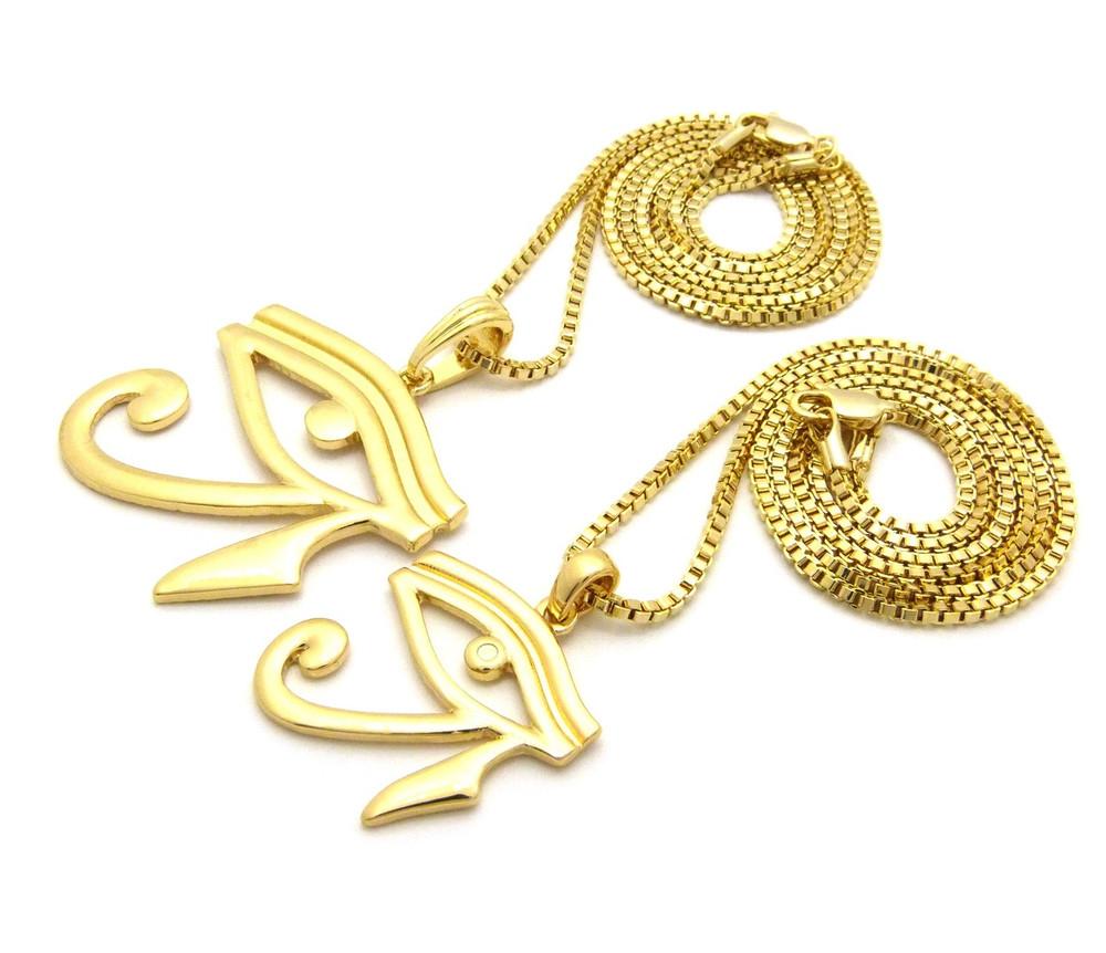 14k Gold Ladies Eye Of Ra Small Micro Pendant Set