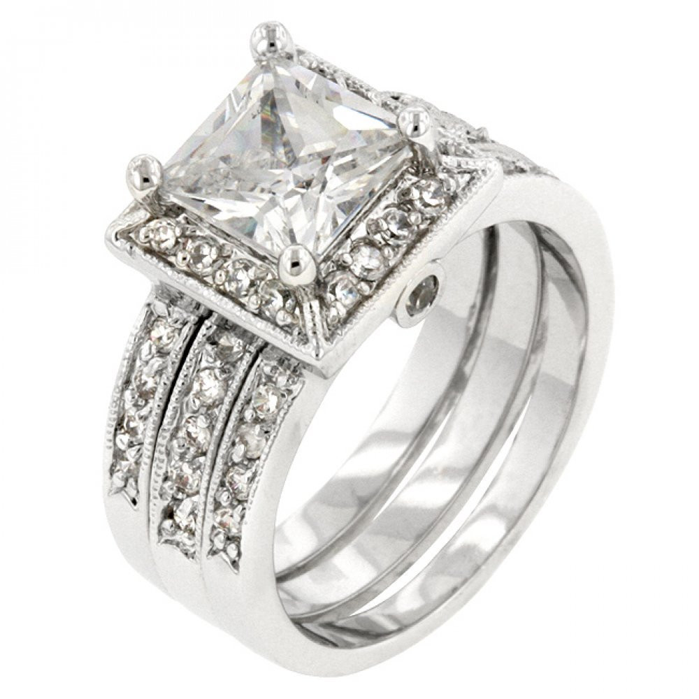 Classic Gift Of 4.5 (Ct) Princess Cut Simulated Diamond Theodora Bridal Set Ring For Memorable Occasions