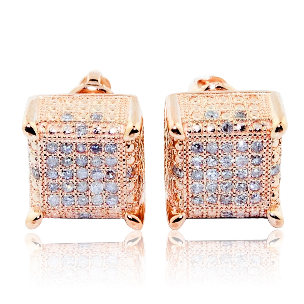 ​10K Rose Gold Cube Earrings Large 8.76mm Wide 0.3cttw Pave Set For Men Of Character!