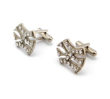 Men's Iced Out New York Bling Cz Cufflinks