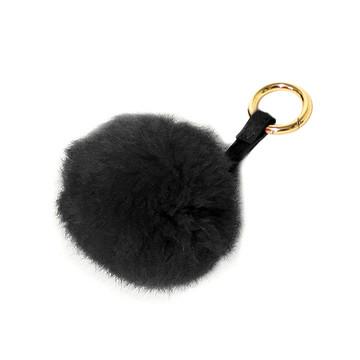 Ladies Pom Pom Gold Tip Key Chain Black